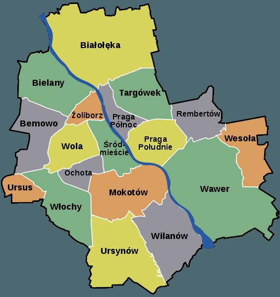 Dzielnice w Warszawie